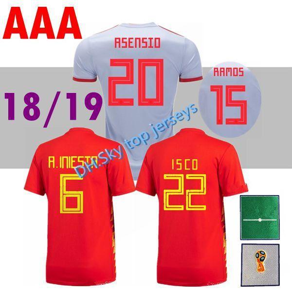 Üst Tay Dünya Kupası 2018 ispanya ev uzakta beyaz futbol Jersey Ücretsiz toptan 17 18 ISCO España deplasman forması nakliye kırmızı