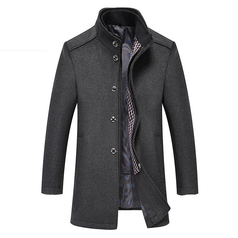 2 In 1 Winter Wool Coat Men 2018 New Business Outerwear Warm Coat Men's Casual Overcoat Pea Plus Size XXXL 4XL Jackets