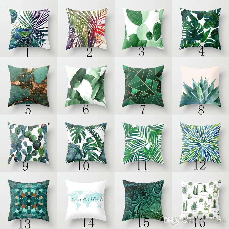 Green Tropical plant Pillow Case Cotton Linen Throw Pillow Case Home Sofa Décor