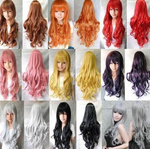 80cm Long Curly Wigs Fashion Cosplay Costume Hair Anime Full Wavy Wig Women