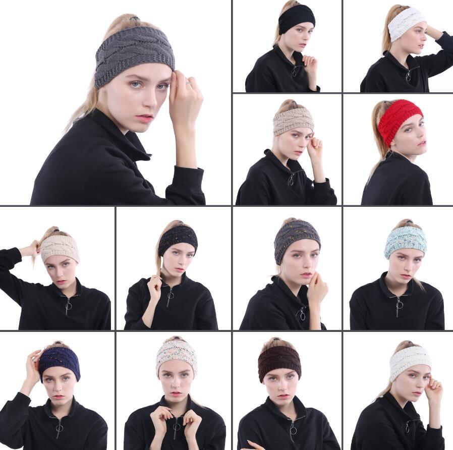 13 colores de punto vendas de las mujeres del invierno orejas de cabeza de punto turbante Headwrap Crochet diadema accesorios para el cabello CCA10381 100 unids