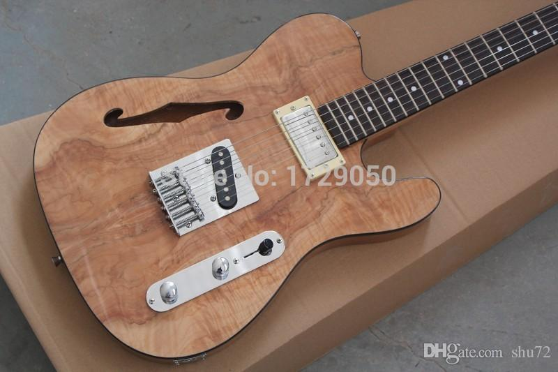 China fábrica de guitarra personalizado 2015 novo Novo corpo sólido cor Natural Bordo De Madeira topo Semi Oco F Buraco Jazz TL Guitarra elétrica 1221