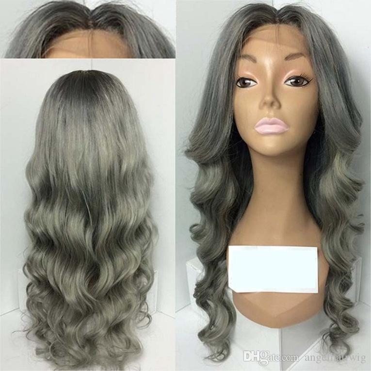 Women Gothic Style Dark Roots Ombre Gray Wig Short Bob Full Wig