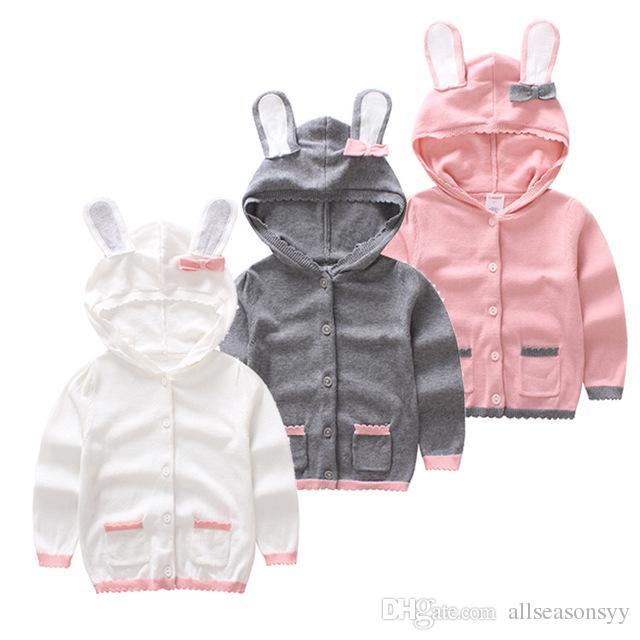 2018 Autumn new baby girl rabbit hat cotton cardigan sweater children's clothing girls knitting sweaters 1-6Y Girls Boys Jacket