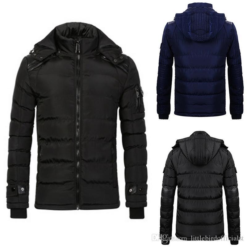 Winter Oversized Jacket Men Fashion Solid Stand Collar Mens Parkas Coat Casual Zipper Windbreaker Warm Jacket