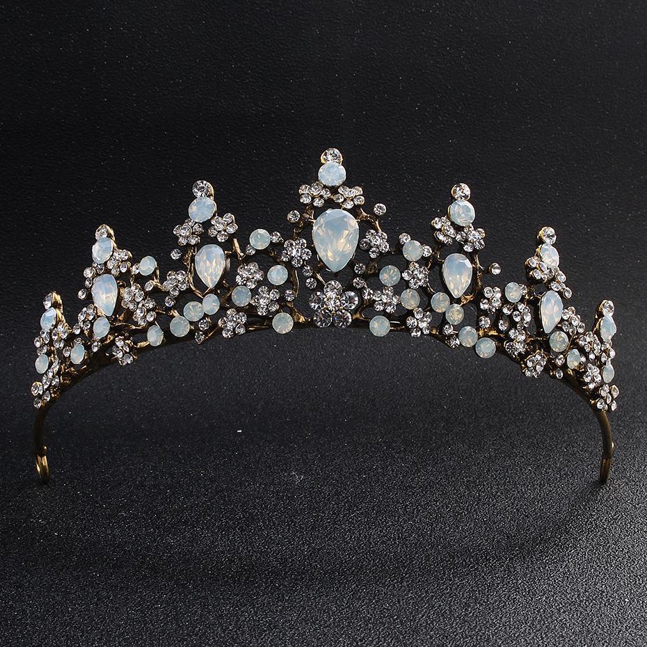 Klassische Opal Stones Black Gold Tiaras und Kronen Hochzeit Haarschmuck Königin Kopf Schmuck Frauen Diadem Braut Tiara JCI021