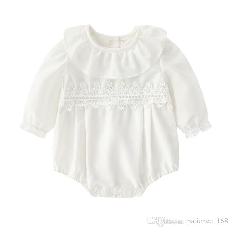 romper 2018 INS new arrival baby Girls autumn long sleeve high quality cute doll collar Beautiful lace pure white romper free shipping
