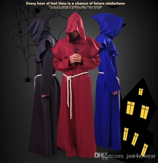 Tema Kostüm Ortaçağ Renaissance Keşiş Robe Pelerin Cadılar Bayramı Kapşonlu Çapraz Renkli Friars Mens Cosplay Kostümleri Rahip
