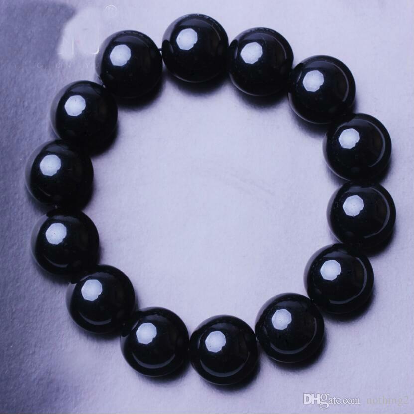 pulseras de joyería para hombres de las mujeres negro obsidiana de cristal perlas pulseras de cuentas de la manera libre caliente del envío