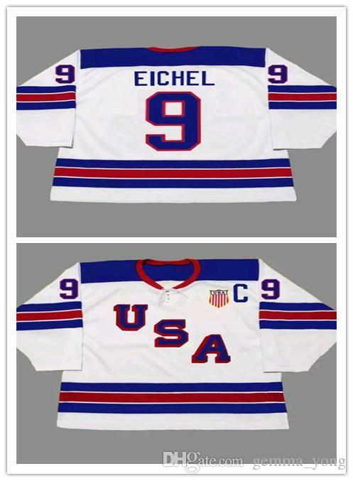 Personalizzato 9 JACK EICHEL 2014 USA Retro Vintage Hockey Maglie Economici Mens Uniformi Cucite Impiccagione Buon Quanlity Ordine Della Miscela