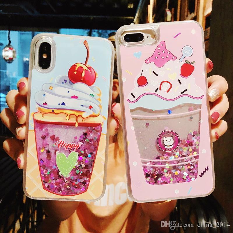 O mais novo! Dinâmica Líquido Glitter Quicksand Lantejoulas Phone Cases Flamingos caso capa Voltar Coque Para iPhone XS MAX XR X 8 7 6