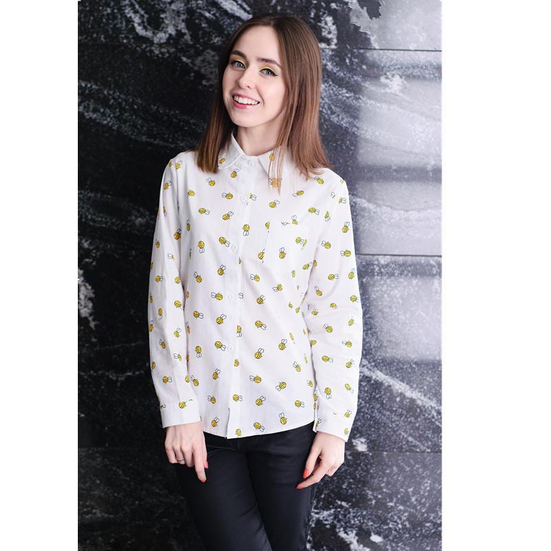 Moda İlkbahar Kadınlar Bluz Hayvan Baskı Uzun Kollu Çalışma Gömlek Ofis İşletme Okulu Kız Bayanlar Beyaz Gömlek Tops