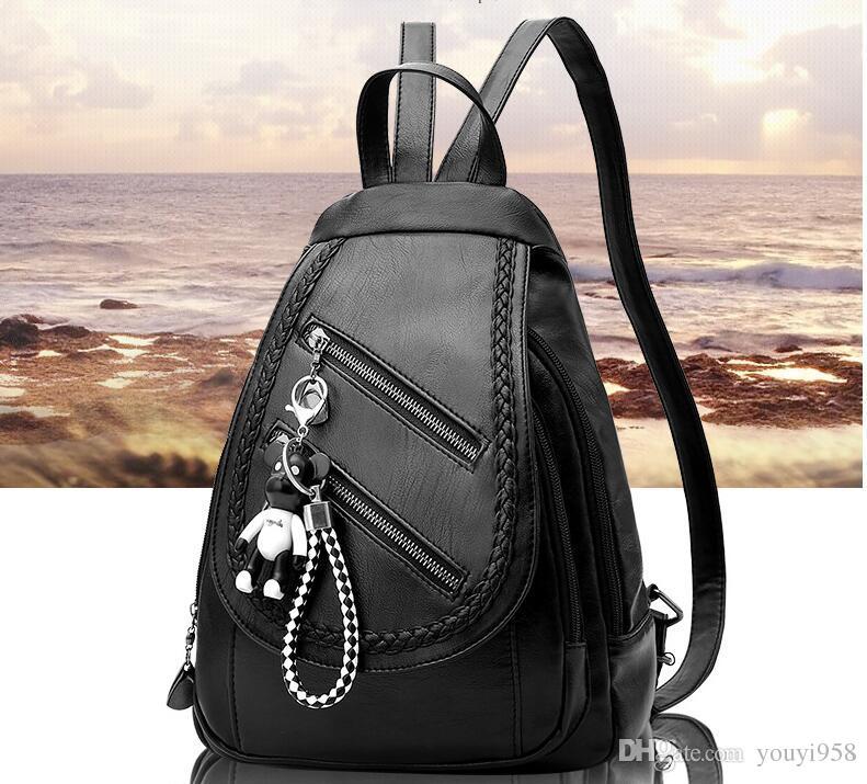 Mochila Estilo mochilas saco preto encantos frete grátis 2020 mulheres da forma da senhora