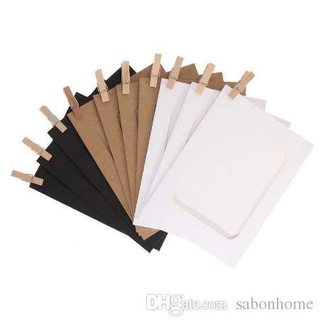 10 قطع diy كرافت ورقة إطار الصورة 3-5 بوصة شنقا جدار صور إطار الصورة كرافت ورقة مع مقاطع و حبل للذاكرة الأسرة