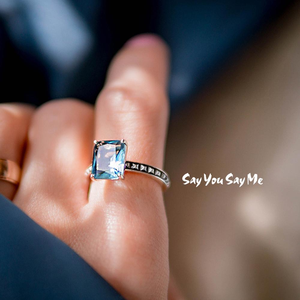 925 Ayar Gümüş Yüzük Toptan Düğün Nişan Parti Lüks Mavi Taş Yüzükler Iyi Hediyeler 2018 Yeni Varış Söyle Say Bana Y18102510