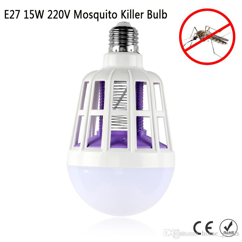 Electronic Pest Repeller Lamp Mosquito Killer 2 in 1 E27 LED Bulb 220V 15W Electron Trap Zapper Anti Insect Bug Wasp Night Light