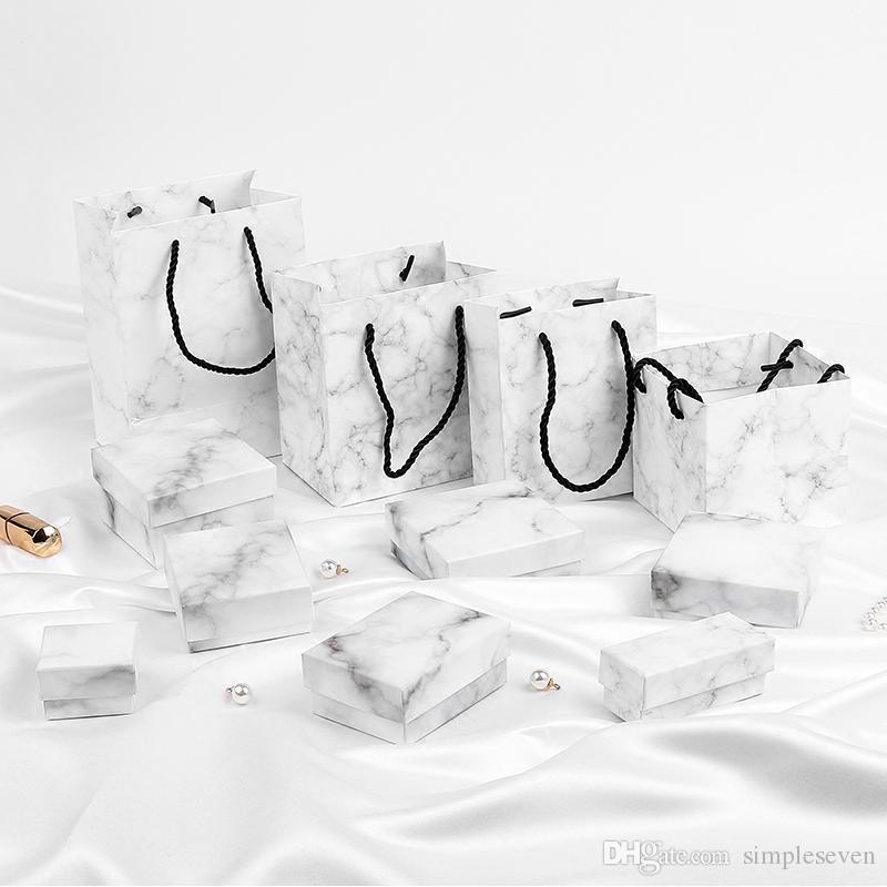 [Simple Seven] Boîte à bijoux en marbre de style Ins, Coffret cadeau bague, Boîte à bijoux spéciale pour collier, Pendentif Festival en marbre