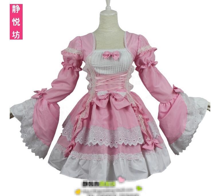 Retro Lolita cosplay tatlı Dantel prenses pembe siyah renk Hizmetçi Kostümleri Kırlangıç kızlar Lolita Elbiseler