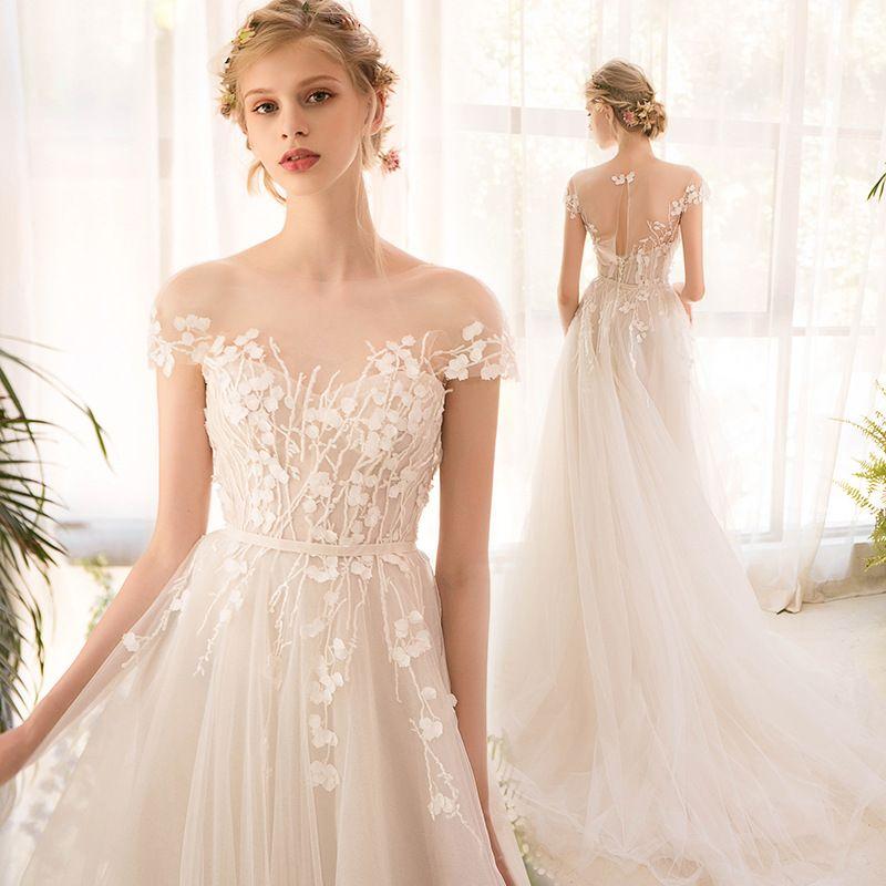 Vestido De Noiva Chiffon 2018 Longo Meia Manga Lace Vestido De Noiva High End Noiva Simples Vestido De Noiva Vestido De Noiva Foto Real Vestido De