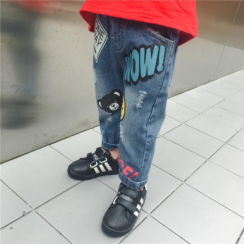 Meninos Jeans Para Crianças Calças Causal Cintura Elástica Crianças Calças Jeans Boy Clothing Cowboy Primavera Outono Lápis Jeans Para As Meninas