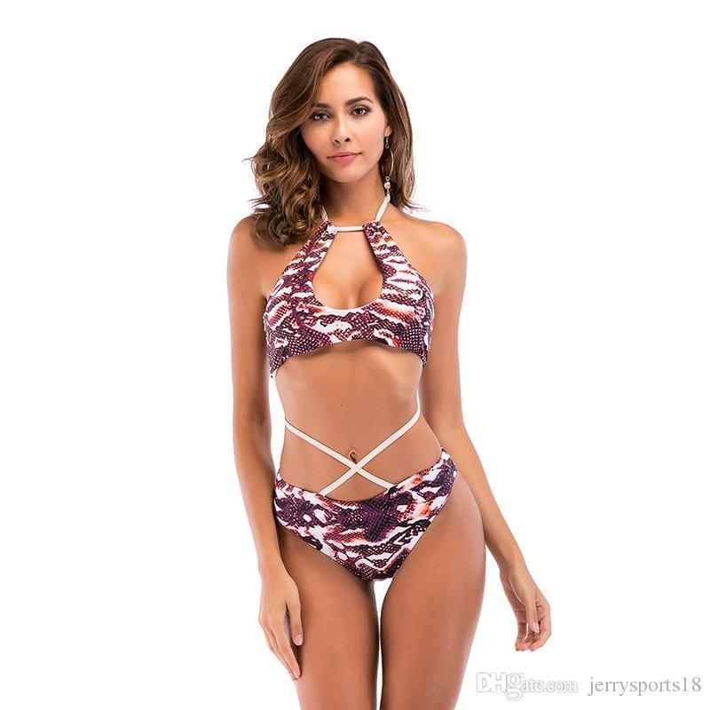 Ropa nueva playa del verano de Europa sello de América conjuntos de estilos del traje de baño bajo la cintura de las mujeres de Deporte baño atractivo de piel de serpiente Bikinis