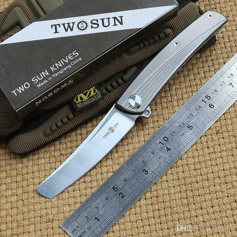 TWO SUN TS70 Tactical Flipper ball brearing folding knife titanium handle D2 blade camping hunting Pocket knives outdoor Survival EDC Tools