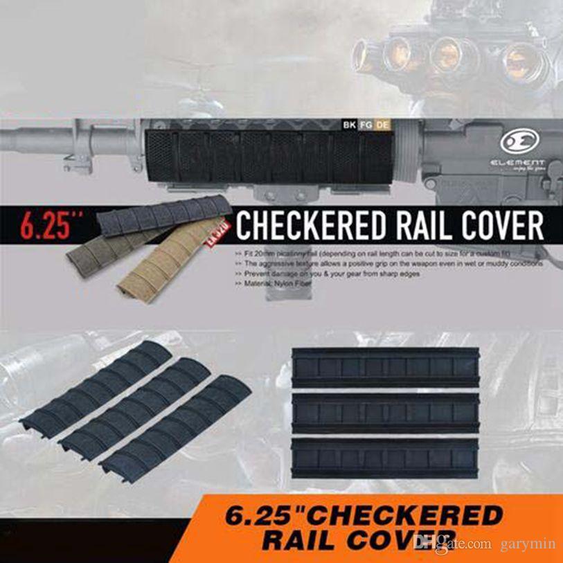 """قم بإلغاء تحديد 3pcs / pack 6.25 """"غطاء Checkered للسكك الحديدية ذو الغطاء الأسود المظلمة ويفر جبل EX320"""