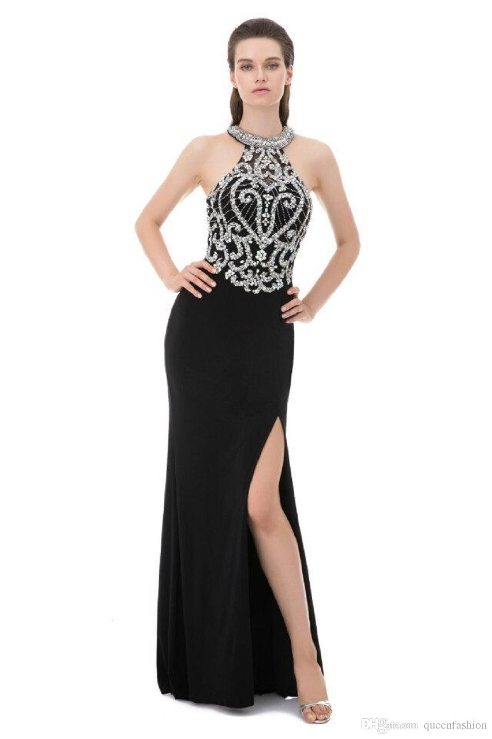 Sexy Side Slit Rhinestone Prom Dress Mermaid Evening Dresses Halter Beaded Sheath Elegant Pageant Gowns Special Occasion Dresses