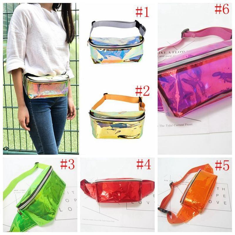 Waist Bag Fashion Punk Lady Girl Rainbow Transparent Fanny Pack Women Purse Waist Bag EP Punk Party Beach bag