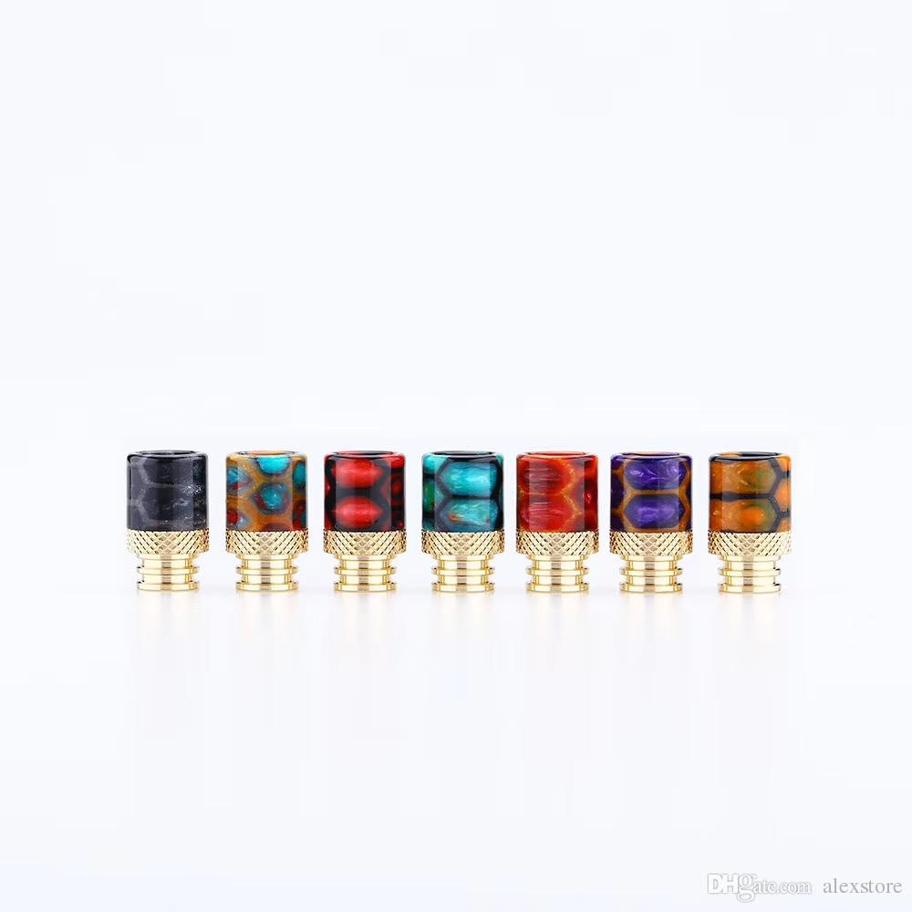 Snake Skin Grid Pattern Gold Stainless Steel SS 510 Thread Epoxy Resin Golden Drip Tips Mouthpiece for Crown III Tank Vape DHL