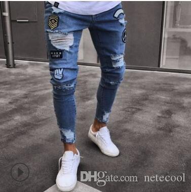 Jeans skinny déchiré Slim Fit Jean Denim usé Jean Biker effiloché Garçons Motifs Brodés Crayon Pantalon jeans