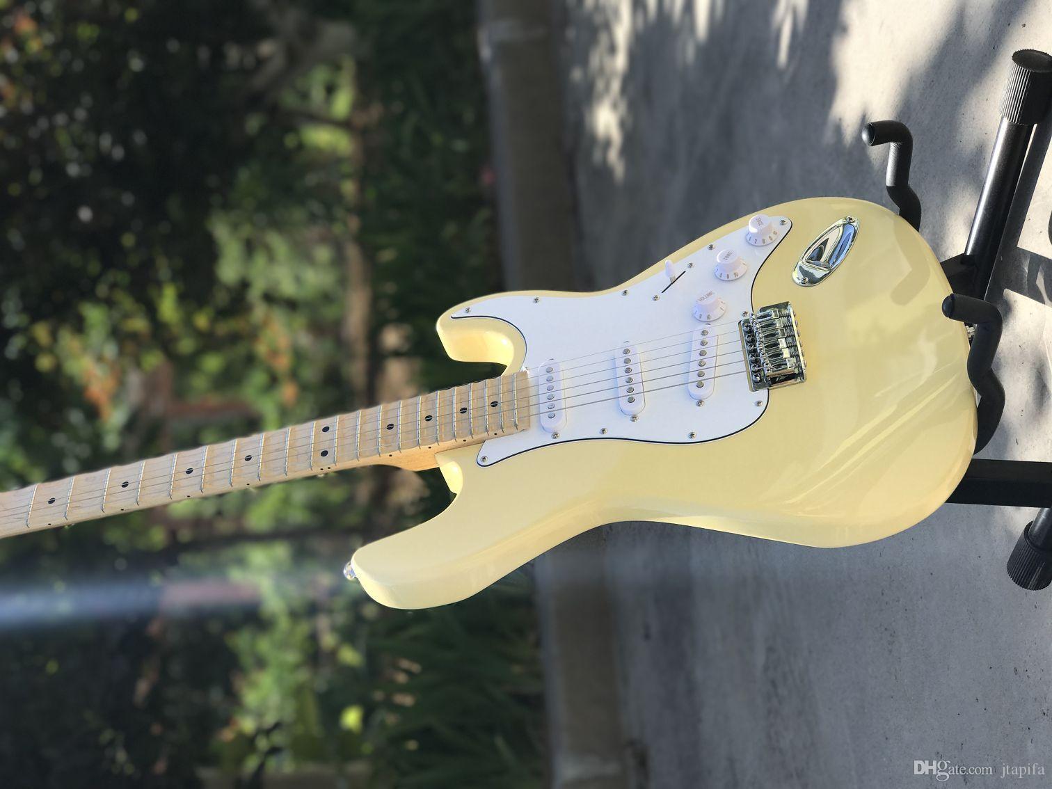 St. beżowa gitara elektryczna, wysoka jakość tonów, panel mahoniowy Palec podstrunnicowa Mahogany Deski Boczna