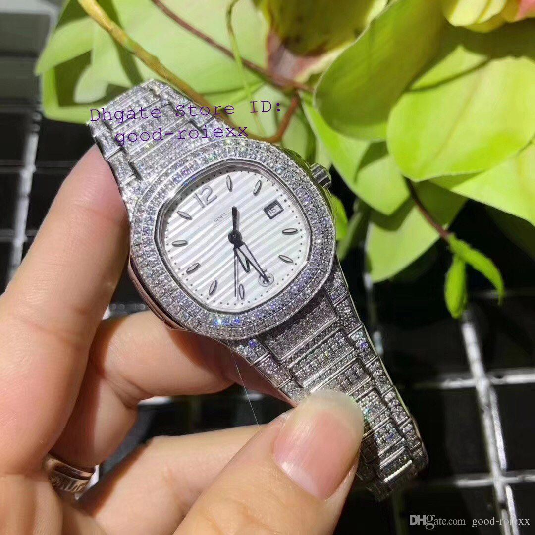 Women's Luxury Watches Men Swiss Ronda Quartz 515 Movement Watch Pave Diamond Crystal Case Bracelet Eta Nautilus 33mm Ladies Wristwatches