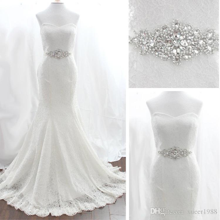 Magnifique robe de mariée robe de mariée Crystal Sash Appliques Ceinture 80 cm pleine longueur