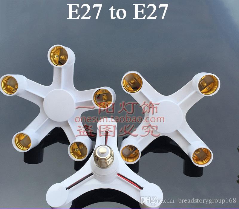 표면에 대한 E27 멀티 헤드 나사 램프 어댑터 E27 램프 홀더 변환기 자료 E27는 조명을 탑재