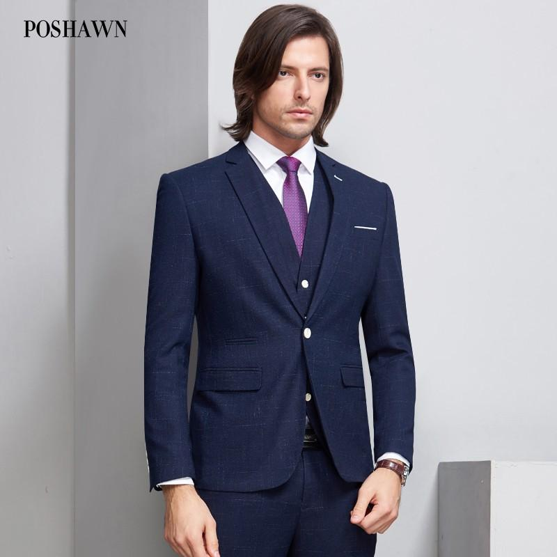 POSHAWN Men's Suit Slim Fit Male Formal Office Wear Coats And Pants 2018 New Fashion Groom Suit Mens Business Suits
