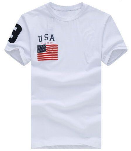 Tee-shirts pour hommes d'été Drapeau des États-Unis avec t-shirt en coton à gros poney T-shirts de sport à col rond Top Bleu marine Blanc Rouge S-XXL