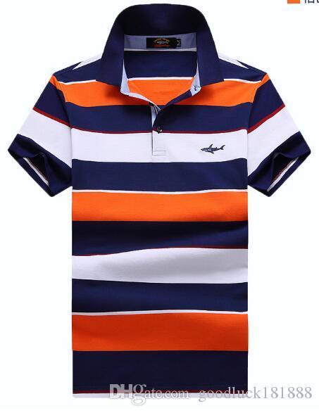 Yaz Yeni pamuk Kısa kollu T-shirt Yaka Ticaret Eğlence şerit Gevşek Büyük boy erkek Polos Gömlek