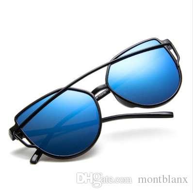 KUJUNY Cat Eye Sunglasses Twin-Beams Mujeres Espejo Reflexivo Piso Vintage Marca diseñador Pink Sun Glasses UV400 Eyewear
