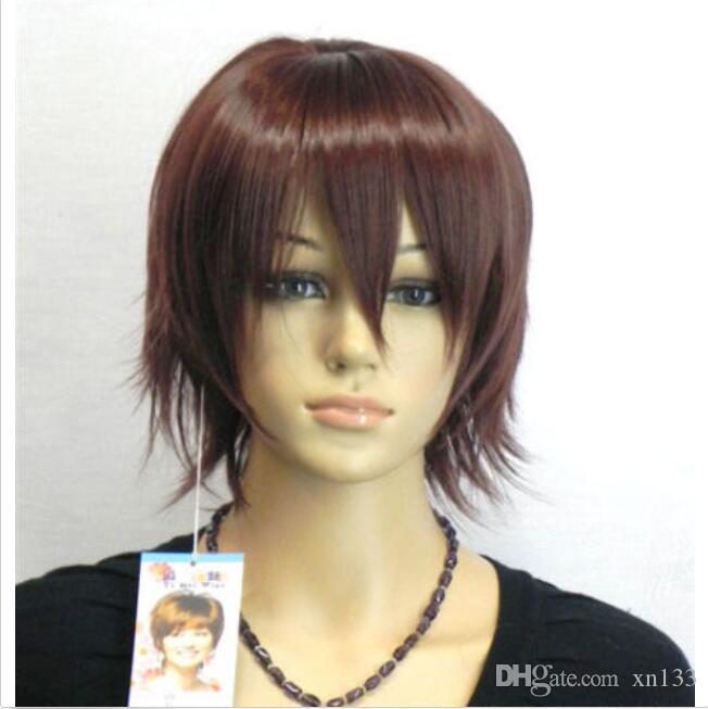 Neue Mode kurze braune gerade Frauen Dame Haar Perücke Perücken + Cap