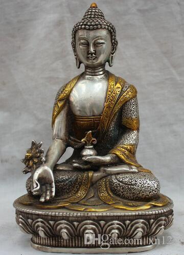 """[Artesanía antigua] 8 """"Tíbet Budismo tibetano Plata Dild Menla Medicina Buda médico Dios estatua (A0314)"""