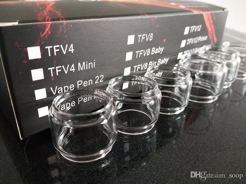 TFV12 TFV8 Grande bebê TFV12 Príncipe TFV8 X baby Vape Caneta 22 Plus para RBA Coil Substituição Bulbo gordo menino Tubo De Vidro Convexo