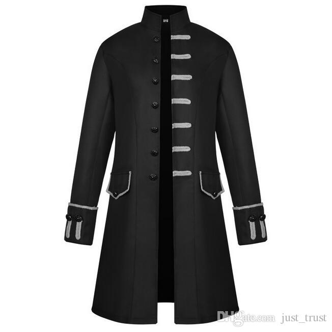 New sales Vintage Medieval steam punk Long Jacket Retro Gentlemen Theme Costume stand collar trench coat Halloween Party overcoat