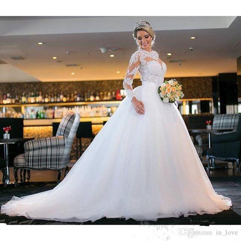 Blusa de ilusión Manga larga Vestidos de novia de encaje Tulle Una línea Corte Tren Vestidos de novia de diseño clásico a medida