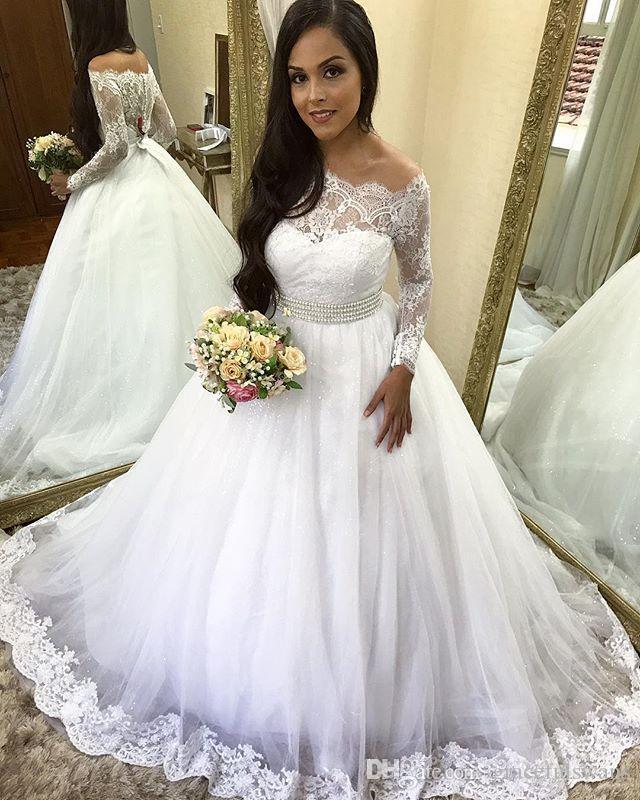 Кружева с длинным рукавом свадебные платья для свадебного свадьбы с плеча на лодках шеи жемчуга талии элегантные свадебные платья Vestido de Nooiva Princesa
