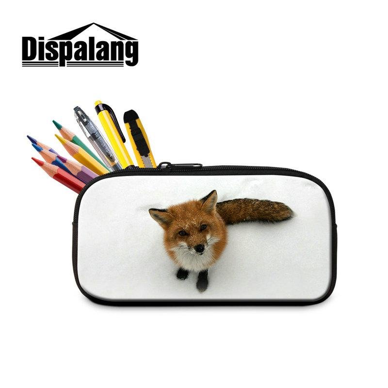 Nice Animal Fox Pencil Cases for School Children Boys Big Pen Box Girl Pencils Bags Lady Zipper Cosmetic Cases Work Office