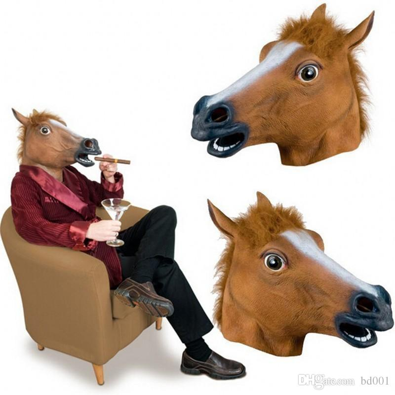 Brown Latex Rubber Full Face Mask Creepy Horse Head Shape Masquerade Masks For Halloween Costume Theater Props 15hj BB
