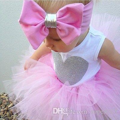 0-18 M Yenidoğan Bebek Bebek Kız Giysileri Kolsuz Kalp Bodysuit Romper + Tutu Etek + Kafa 3 adet Kıyafet Çocuk Giyim Seti