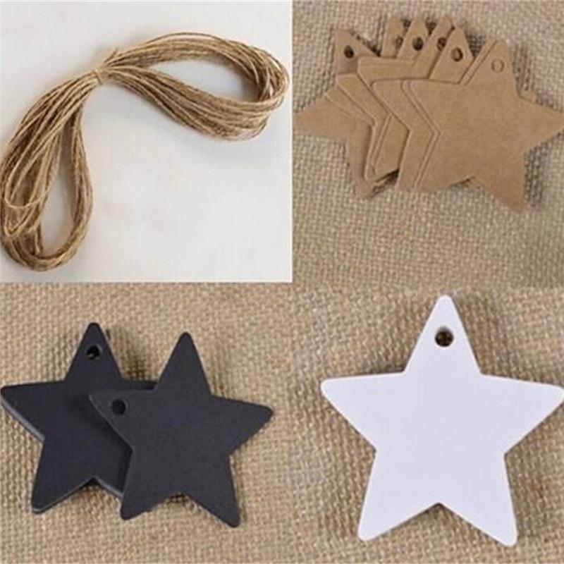Black Star Kraftpapier Label Preis Tags Hochzeit Weihnachten Halloween Party Favor Geschenkkarte Gepäck Tags Verpackung Etiketten 300 Teile / satz