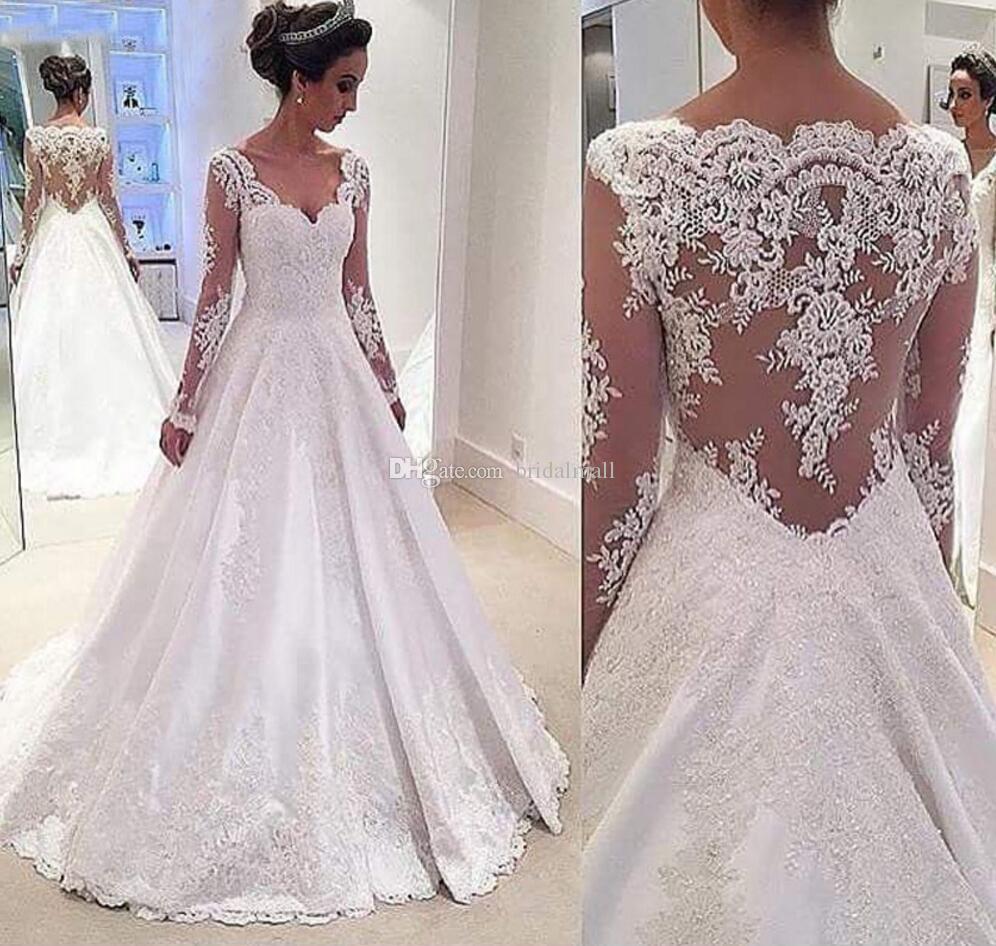 Białe Koronkowe Aplikacje Długie Rękawy Suknie Ślubne 2019 V Neck Hollow Powrót Suknie Ślubne Plus Rozmiar Robe De Mariee Suknie Ślubne dla Brides